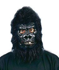 Check out this realistic Gorilla mask! Black latex rubber Gorilla face mask with faux fur hood. Mask has a movable mouth.