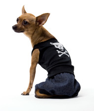 This dog is a real bad boy. Black jumpsuit with doggy skull and crossbones. Made for smaller dogs.