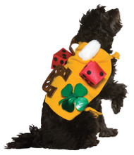 A costume for the luckiest dog in the world! Yellow tunic covered in good luck charms such as a white rabbits foot, two dice, a horseshoe and a green shamrock. Designed for Medium-XL Dogs.