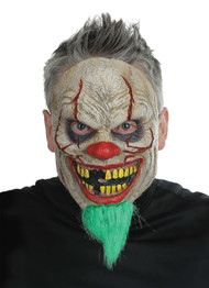Terrify all of your friends with this bad news clown mask! Full-face latex mask with synthetic green hair beard. 80% Latex 20% Polypropylene. Includes elastic strap. One size fits most adults.