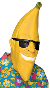 Go bananas in this banana face mask! Full over-the-head latex banana mask with black sunglasses. One size fits most adults.