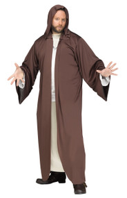 This robe is great for a variety of characters and occasions. Brown hooded robe only. One size adult fits sizes below 6'0 and 200 pounds.
