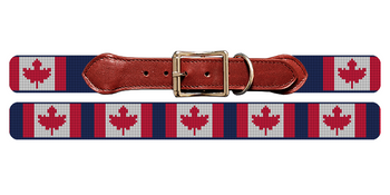 Canada Flag Needlepoint Dog Collar