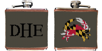 Maryland Crab Needlepoint Flask