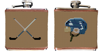 Hockey Needlepoint Flask