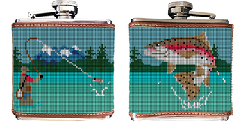 Fly Fishing Needlepoint Flask