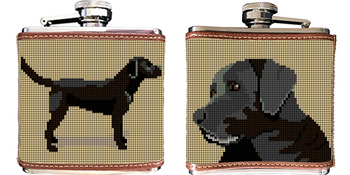 Black Lab Needlepoint Flask