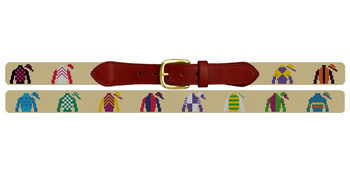 Jockey Silks Needlepoint Belt