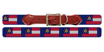 Georgia Flag Needlepoint Dog Collar