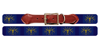 Indiana Flag Needlepoint Dog Collar