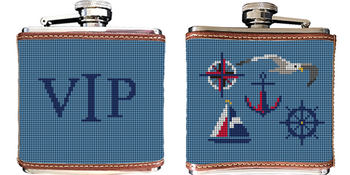Nautical Needlepoint Flask