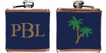 Palm Tree Needlepoint Flask