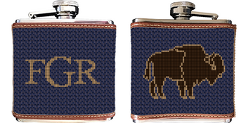 Buffalo Needlepoint Flask