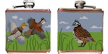 Quail Needlepoint Flask