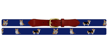 Welsh Corgi Needlepoint Belt