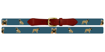 French Bulldog Needlepoint Belt