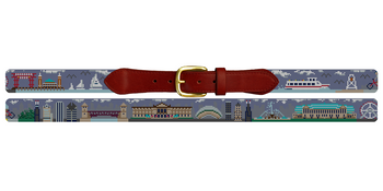 Chicago Landscape Needlepoint Belt