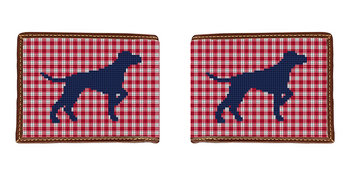 Preppy Pointing Dog Needlepoint Wallet