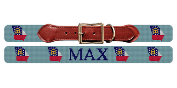 Georgia State Needlepoint Dog Collar