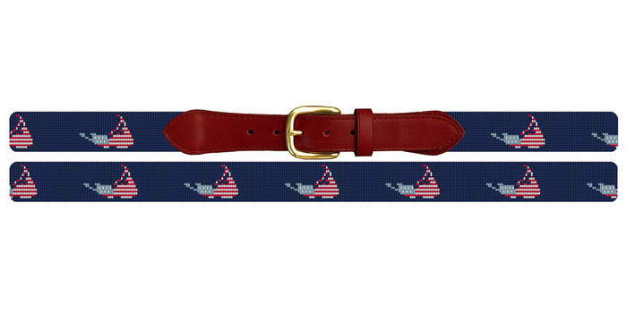 Nantucket Needlepoint Belt Navy Blue with American Flag Motif