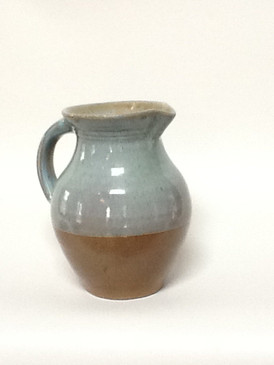 One Quart Round Pitcher-Tourquoise Glaze-woodfired