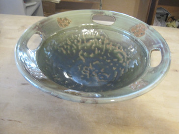 large pottery serving bowl; woodfired;artistic