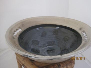 Large Harvest Bowl with 2 HandHolds-White Glaze over Black