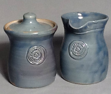 Cornwall Commemorative Sugar Pot and Creamer Set-Lite Blue