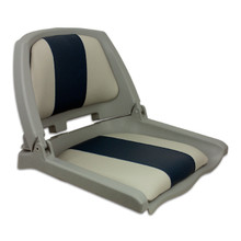 Traveler Fold Down Seat Gray with Blue & Gray Cushions