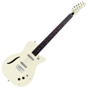 """<p>DANELECTRO 56 VINTAGE BARITONE GUITAR - VINTAGE WHITE</p> <p><span>Vintage '56 Baritone</span><br /><span>Awesome tone and playability. 3 Vintage colors, """"S"""" Sound Hole, and our High Output, High Impedance pickups for our best sounding baritone ever.</span><br /><br /><span>Specification</span><br /><span>• Single cut body shape</span><br /><span>• """"Dolphin"""" headstock</span><br /><span>• 29.75″ scale neck</span><br /><span>• Number of frets: 24</span><br /><span>• Fully adjustable bridge</span><br /><span>• 2 high output, high impedance Lipstick® pickups</span><br /><span>• 1 master volume</span><br /><span>• 1 master tone</span><br /><span>• 3 way pickup selector</span><br /><span>• """"S"""" sound hole</span></p>"""