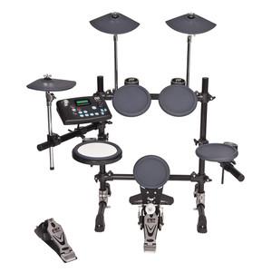 <div><b>Digital Drum Module:</b></div><div>• 32 High Quality Voices</div><div>• 20 Preset Kits</div><div>• 20 User Kits</div><div>• 120 Sound Variations</div><div>• Click Track/Metronome</div><div>• 10 Demo Songs<br><br><div><b>Control:</b></div><div>Power switch, Start/Stop, Save, Play, Record, Song, Drum Off, Reverb, Chorus, Click, Drum, Hi-Hat, Crash, Ride, Hi-Hat Control, Snare, Tom 1,Tom 2, Tom 3, Kick, Volume, LED Display.<br><br><div><b>Connections:</b></div><div>MIDI OUT, Trigger Inputs for Hi-Hat Control, Hi-Hat, Crash, Ride, Snare, Tom 1, Tom 2, Tom 3 & Kick. Output (R &L/Mono), USB Port, HeadphoneSocket, Aux in, DC in 12V</div></div></div>