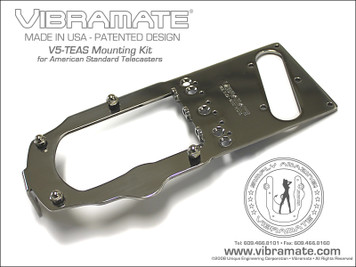 """<p>VIBRAMATE V5 STAGE 1 AMERICAN STD TELE</p> <center> <p><span style=""""font-family: Verdana, Arial, Helvetica, sans-serif; font-size: medium;""""><strong>Mounting Kit for Bigsby B5 - American Standard Telecaster® Guitars</strong></span></p> </center> <p><span style=""""font-family: Verdana, Arial, Helvetica, sans-serif; font-size: xx-small;""""><strong>* Note: Vibramate V5 is designed for the Bigsby """"Original"""" B5 Vibrato ONLY and will not work with other variations such as the """"Licensed"""" B50 Model or the Import B500 Model. Make sure you have the correct Bigsby Vibrato for proper installation of the Vibramate Kit!</strong></span></p> <p></p> <center> <p><span style=""""font-family: Verdana, Arial, Helvetica, sans-serif; font-size: large;""""><strong><em>Vibramate V5-TEAS-1 Installs in Minutes with No Drilling!</em></strong></span><br /><span style=""""font-family: Verdana, Arial, Helvetica, sans-serif; font-size: medium;"""">Fits most American Standard Telecaster® guitars with 3-screw mount bridges.</span></p> <p><a href=""""http://www.vibramate.com/images/Vibramate-V5-TEAS1-640.jpg""""><img src=""""http://www.vibramate.com/images/Vibramate-V5-TEAS1a-800.jpg"""" alt=""""Vibramate"""" width=""""800"""" height=""""600"""" align=""""middle"""" border=""""0"""" /></a></p> <p><a href=""""http://www.vibramate.com/images/V5-TEAS-ExplodedView-600.gif""""><img src=""""http://www.vibramate.com/images/V5-TEAS-ExplodedView-600.gif"""" alt=""""Vibramate"""" width=""""600"""" height=""""600"""" align=""""middle"""" border=""""0"""" /></a></p> <p align=""""LEFT""""><span style=""""font-family: Verdana, Arial, Helvetica, sans-serif; font-size: small;"""">Now you can install a Bigsby Vibrato on your American Standard Telecaster® style guitar without drilling any holes! The Vibramate V5-TEAS-1 Model Mounting Kit is designed for a<a href=""""http://www.bigsbyguitars.com/vibe/?page_id=118"""" target=""""_blank"""">Bigsby B5 Original Vibrato</a>and will fit most American Standard Telecaster® guitars that have a 3-screw mount bridge.</span></p> <p align=""""LEFT""""><a href=""""http://www.gretschstore.com/catalog/index.php?"""