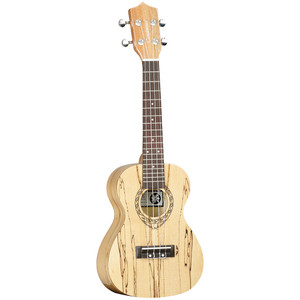 """The Tanglewood Tiare TWT10 is surely one of the most visually attractive and unique instruments in the whole range. A concert size instrument in high gloss finish, this ukulele has timbers crafted from exotic Spalt Maple. Spalt Maple is a term used in manufacturing, derived from the words""""spoilt Maple"""" and it has a very unique claim to fame. This timber has been retrieved from mountain lakes and creeks, where for generations it has laid submerged in water and gradually taken on a unique grain identity, noticeable by the striking ebony marks on the otherwise pale maple timber. Retrieved, seasoned and kiln dried for precise manufacturing, Spalt Maple is a very unique and rare timber that has a great story to tell and its cosmetic is without doubt a key part of its popularity. The TWT10 has the Tiare trademark """"Fiddleback"""" contouring on the rear of the body for increased sound projection and enhanced tonality and is fitted as standard with the class leading Aquila strings from Italy. If you want a concert ukulele which quite possibly began its life as a Maple tree over three hundred years ago and has been weathered and aged by natural elements into the work of art cosmetic you see on our images, then this is the instrument for you."""