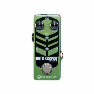 """<p><span>Pigtronix Gatekeeper Micro is a lightning fast, studio quality noise gate pedal that locks out all unwanted noise from any rig. Sporting threshold and release time knobs, the Gatekeeper Micro provides 100% attenuation with unprecedented response time, making it the most useful and effective noise gate pedal on the market.</span><br /><br /><span>Gatekeeper Micro utilizes ultra-high speed J-FET circuitry to completely eliminate hum, hiss, buzz and any other non-musical sounds from your signal path. The wide range threshold control combines with superior headroom to deliver smooth transient response and warp speed time constants previously available only in rackmount, studio oriented noise gate processors. These extreme performance characteristics allow for musical gating even under the most punishing demands of high-speed metal. The addition of the release time knob allows the user to control how long it takes gate to slam closed. Mercilessly cutting out any and all sounds you don't want to hear at the very instant you stop playing, the Gatekeeper Micro will allow players to crank up the volume without fear of hearing the annoying 60-cycle hum or white noise that plagues most high gain rigs.</span><br /><br /><br /><span>▪ 100% attenuation when gated</span><br /><span>▪ Wide range threshold control</span><br /><span>▪ Variable release time</span><br /><span>▪ High-Speed performance</span><br /><span>▪ True Bypass</span><br /><span>▪ Size = 3.75"""" x 1.5"""" x 1.75""""</span><br /><span>▪ Sound design by David Koltai</span></p>"""