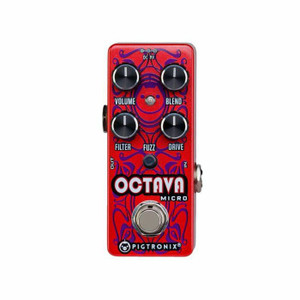 """<p><span>Pigtronix Octava Micro is an expanded version of the octave up found in the original Pigtronix Disnortion pedal. This all-analog frequency doubler has an on-board low pass filter control that allows you to achieve singing octave up tones, anywhere on the neck, without adjusting your guitar's tone control. Stable intervals such as octaves, 4ths and power chords result in gnarly, tweezed out grind, while other intervals create ring- modulator textures in all registers.</span><br /><span>Drive, Blend and Fuzz controls have been added to the original 2-knob design for added signal power and overall flexibility. A variable Drive circuit on the front end allows the musician to tailor the harmonic response of the of the octave circuitry to suit any set of pickups. The octave up is wired in series before a fuzz circuit that can be activated by a push button switch, allowing this micro pedal to produce the devastating, full-wave rectified distortion found in the original, large-format unit. The entire drive, octave, fuzz effect can then be mixed with the original clean signal using the Blend control to taste.</span><br /><br /><span>Features</span><br /><span>▪ Analog Octave Up</span><br /><span>▪ Variable Low Pass Filter</span><br /><span>▪ Variable Front-end Drive</span><br /><span>▪ Switchable High-Gain Fuzz</span><br /><span>▪ Master Blend</span><br /><span>▪ True Bypass</span><br /><span>▪ Size = 3.75"""" x 1.5"""" x 1.75""""</span><br /><span>▪ Sound design by Thomas Elliott</span></p>"""