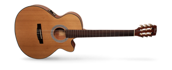 The Classic Series features two distinctive types of models: the traditional Spanish-style nylon-string AC models and hybrid nylon-string CEC models that borrow from steel-string cutaway acoustic-electrics with cutaways, narrower nut width, and Fishman electronics. The traditional style AC models have been re-engineered to improve resonance for an authentic classical guitar sound while the CEC models feature slim body with cutaway, 45mm nut width and electronics for steel-string players who love the nylon-string sound.