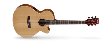 As Cort's vision of the modern acoustic-electric, the SFX Series features Cort's own slim body shape (83*83mm) with cutaway, modern V-shape neck profile for enhanced playability and speed, arched back for improved resonance, jumbo frets and Fishman electronics. The SFX is for the thoroughly modern player who isn't bound to tradition.