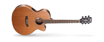 The SFX-CED by Cort is the perfect guitar for stage and studio. This gig-ready acoustic has Fishman electronics, making it ready to plug in and play. The solid Cedar top gives it a sound that is big, rich and boomy. The SFX-CED is comfortable to play thanks to its all-access cutaway body design and the V-contour neck profile. This guitar is ready to gig when you are.