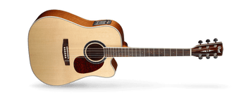 The MR Series represents Cort's mission to provide the highest quality traditional instruments with superb workmanship and modern features at an unbeatable value. The classic dreadnaught body has a Venetian cutaway for easy high fret access and is equipped with Fishman electronics to deliver the MR's natural acoustic sound to an amplification system for both live and recording applications.