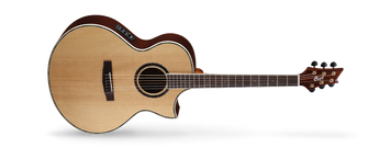 A unique body shape developed exclusively by Cort, the NDX Series guitars feature a 100*125mm full-size body for a big sound, Fishman electronics for superb amplification, and a sharp Florentine cutaway for a modern look as well as easy access to the highest frets.