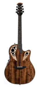 """Artfully book-matched in California to create a distinctive look that would make Mother Nature proud. A Contour composite body maximizes acoustic output and is ergonomically designed for comfort in any playing position. Laser-cut, exotic wood epaulettes/multi-sound holes on the upper bout enhance string vibration and sustain by improving the soundboard's efficiency. The OP-Pro Studio preamp includes a compressor, a four band equalizer, and a 1⁄4"""" output jack that connects to any sound system, stage amp, or recording console  Not subject to CITES Selected wood top; scalloped X-Bracing Deep Contour Lyrachord® GS body 5-piece Mahogany/Maple neck Deluxe grade Ebony fingerboard and bridge Scale length 642 mm, nut width 42,8 mm Ivory white binding with Abalone purfling Abalone Dot-/Diamond-Inlays OCP-1K pickup, OP-Pro Studio Preamp with tuner With case Multi soundhole Inlaid Flame Maple Epauletten Diecast Ovation machine heads, gold with ebony buttons"""