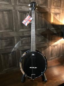 www.mormusic.com Tanglewood B4-BK Contemporary Banjo - Black  TYPE: 4 String Tenor Banjo  TUNING: C, G, D, A  BRACKETS: 18  RESONATOR: Mahogany  SIDES: Mahogany  NECK (MATERIAL): Maple  FINGERBOARD: Techwood  BRIDGE: Maple with Ebony tip  TAILPIECE: Chrome, Adjustable  HEAD: Black / White  www.mormusic.com  INLAYS: ABS White Dot (5mm)  SCALE LENGTH: 577mm  MACHINE HEADS: Vintage Cream Buttons  FINISH: Gloss