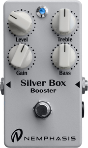 "<p><span>""This one goes to 20!"" The Silver Box Booster is the natural extension of the guitar's volume knob.</span><br /><span>The Silver Box Booster offers up to 22 dB of clean boost, a natural overdrive that retains all of your playing nuances and delivers a highly musical EQ.  Additionally it keeps your guitar's tonal colour unaltered.</span><br /><span>From clean and bright sounds to highly dynamic crunch tones and from robust full-spectrum sounds to tones that cut through the mix, Silver Box provides an ""in your face"" sound full of character and presence.</span><br /><span>This is the perfect multi-tool for the professional musician.</span><br /><span>Technical Details:</span></p> <ul> <li>Scrupulously researched and selected electronic components.</li> <li>True bypass.</li> <li>Full analogue.</li> <li>Jack input/output 6.3 mm or 1/4″ each side.</li> <li>Four controls allow adjustment of gain, tone (bass and treble) and volume. LED indicates the effect is on.</li> <li>No click /pop from foot switch.</li> <li>Power supply required 9 volts DC from external power supply unit via centre negative 2.1mm plug or 9V battery. Battery access via four screws on the base of the unit.</li> <li>Power consumption 10 mA (max).</li> <li>Dimensions (mm): 72 X 120 X 55</li> <li>Weight (g): 250 (without battery).</li> </ul> <p><br /><span>For more details see the manufacturers website <a href=""http://www.nemphasis.com/en/products/silver-box-marco-tafelli-signature-booster.html"">here</a> </span></p>"