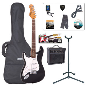 <p>The Encore E6 'Play Now' Blaster Pack is the UK's best first electric guitar starter pack money can buy! The Encore E6 is much more than the sum of its parts; if this IS your first electric guitar, you are gonna enjoy it like no other.</p> <p><b>Contents</b></p> <li> Encore E6 Electric Guitar</li> <li> Kinsman 10 Watt Guitar Amp</li> <li> Guitar Tech Tuner</li> <li> Kinsman Carry Bag</li> <li> Kinsman Guitar Stand</li> <li> Kinsman Guitar Lead</li> <li> Guitar Tech Guitar Strap</li> <li> Encore Tutorial DVD</li> <li> Spare Set of Strings</li> <li> Plectrum</li> <li> Tutor Listing</li>