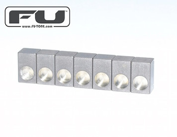 """<div id=""""productDescription"""" class=""""productGeneral biggerText""""> <p>These new titanium insert blocks are made from the highest grade titanium available. There is another brand of titanium saddles out there that are made from a very low grade of titanium with a psi rating of 40,000 lbs. FU-Tone titanium blocks are rated at 140,000 lbs! Are you tired of your little black insert blocks cracking or expanding and getting stuck in the saddles?For the ultimate in performance and tonal response this is a very easy upgrade to install.</p> </div> <ul class=""""floatingBox back""""> <li>Model: TSLB0001</li> <li>Manufactured by: FU-TONE.com</li> </ul>"""