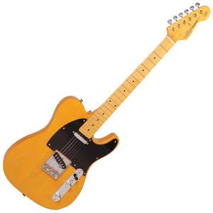 "<p><span>Vintage Butterscotch tele style guitar, with the usual high standards from Vintage. Great for Country, Blues, Jazz and rock with that classic twang of the Alnico bridge pickup to the more sultry smoothness of the Alnico neck pickup.</span></p> <ul> <li>Body: American Alder</li> <li>Neck: Hard maple – Bolt-on</li> <li>Scale: 25.5""/ 648mm</li> <li>Frets: 22 Medium</li> <li>Neck Inlays:Black Dot</li> <li>Tuners: Wilkinson® Deluxe WJ55S</li> <li>Bridge: Wilkinson® WTB intonatable</li> <li>Pickups: Wilkinson® single coil x 2( N) WVTN Alnico (B) WVTB Alnico</li> <li>Scratchplate: White Single Ply</li> <li>Controls: 1 x Volume/ 1 x Tone/ 3-Way Lever</li> </ul> <p></p> <div></div>"