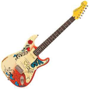 """<p>""""I wanted a guitar that looks cool - like Hendrix's, but with all the features of my signature Vintage Icon V6 guitar,"""" said Blug. """"And it had to play like all the guitars I usually play: pickups in the same position and not a reversed body."""" Vintage worked to meet all his requests, producing a guitar with the same top-quality specs as his original Vintage signature, itself based on his treasured Olympic White '61. The V6 has an alder body and a hard maple neck. The rosewood fingerboard has 21 frets and dot position inlays.</p> <h2>Features/Specifications:</h2> <p><strong>Body & Bridge:</strong></p> <ul> <li><strong>Body Material:</strong> Alder</li> <li><strong>Finish:</strong> Distressed 'Summer of Love' Design</li> <li><strong>Bridge:</strong> Wilkinson® WVCD Vibrato</li> </ul> <p><strong>Neck & Fingerboard:</strong></p> <ul> <li><strong>Neck Material:</strong> Hard Maple</li> <li><strong>Neck Construction:</strong> Bolt On</li> <li><strong>Scale Length:</strong> 25.5"""" / 648mm</li> <li><strong>Radius:</strong> 7 1/2""""</li> <li><strong>Frets:</strong> 21</li> <li><strong>Position Inlays:</strong> Dot</li> </ul> <p><strong>Electronics & Hardware:</strong></p> <ul> <li><strong>Neck Pickup:</strong> Wilkinson® Single Coil Aged Ivory WVS</li> <li><strong>Middle Pickup:</strong> Wilkinson® Single Coil Aged Ivory WVSM</li> <li><strong>Bridge Pickup:</strong> Wilkinson® Single Coil Aged Ivory WHCC (Back Tone Push/Push Hum-Cancelling Extra Coil)</li> <li><strong>Pickup Switching:</strong> 5-Way Selector</li> <li><strong>Controls:</strong> 1 x Volume, 2 x Tone</li> <li><strong>Tuning Machines:</strong> Wilkinson® WJ55D E-Z-LOK™</li> <li><strong>Hardware:</strong> Nickel</li> </ul> <p></p>"""