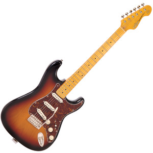 """<p><strong>Vintage V6M S SB Sunburst electric guitar with Maple Neck<br /><br />Body</strong>: American Alder<br /><strong>Neck</strong>: Hard Maple – Bolt On<br /><strong>Scale</strong>: 25.5""""/648mm<br /><strong>Frets</strong>: 22<br /><strong>Neck Inlays</strong>: Pearloid Dot. Black dot (MFR/MSSB)<br /><strong>Tuners</strong>: Wilkinson® WJ55 E-Z-LOK™<br /><strong>Vibrato</strong>: Wilkinson® WVC<br /><strong>Pickups</strong>: Wilkinson® Single Coil x 3 (N) WVS (M) WVS (B) WVS<br /><strong>Hardware</strong>: Chrome<br /><strong>Controls</strong>: 1 x Volume/ 2 x Tone/ 5-Way Lever</p>"""