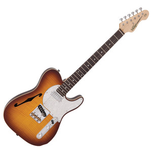 """<p><em>With a wonderful blend of 'old' and 'new era' the V72FTB features a neck mounted Wilkinson WDG mini double coil pickup, which produces a focussed broad spectrum tone, allied to the classic voice of a Wilkinson Alnico V WVTB housed in a Wilkinson WTB bridge, with its cold rolled steel 'ashtray' base and intonated brass saddles.</em></p> <p><em><span>VINTAGE</span><span style=""""font-size: xx-small;"""">®</span><span>V72HH</span> <span class=""""elevengold1"""">Top: </span><span class=""""elevenpoint"""">Book Matched Flame Maple Veneer</span> <span class=""""elevengold1"""">Body: </span><span class=""""elevenpoint"""">American Alder with Acoustic Chambers</span> <span class=""""elevengold1"""">Neck: </span><span class=""""elevenpoint"""">One-Piece Hard Maple - Bolt On</span><span class=""""elevengold1"""">Scale: </span><span class=""""elevenpoint"""">25.5""""/648mm </span> <span class=""""elevengold1"""">Frets: </span><span class=""""elevenpoint"""">22 Medium </span> <span class=""""elevengold1"""">Neck Inlays: </span><span class=""""elevenpoint"""">Pearloid Dot</span> <span class=""""elevengold1"""">Tuners: </span><span class=""""elevenpoint"""">Wilkinson® WJ55</span> <span class=""""elevengold1"""">Bridge: </span><span class=""""elevenpoint"""">Wilkinson® WTB Intonataable</span> <span class=""""elevengold1"""">Pickups: </span><span class=""""elevenpoint"""">1 Wilkinson® WDG (N), 1 Wilkinson® WTB (B)</span> <span class=""""elevengold1"""">Hardware: </span><span class=""""elevenpoint"""">Chrome</span> <span class=""""elevengold1"""">Controls: </span><span class=""""elevenpoint"""">Volume/ Tone/ 3-Way Lever</span></em></p> <p><img src=""""http://cdn.shopify.com/s/files/1/0195/1906/files/TWDA_146afa7d-9a04-41b6-a0b6-7ed9fb4deafd_large.jpg?6266520486457334119"""" alt="""""""" /></p> <p></p>"""