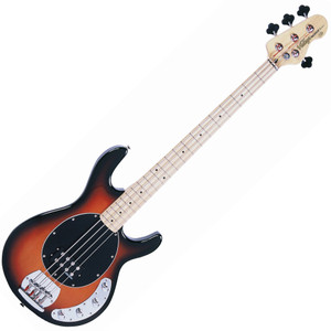 """<h2>Vintage V964SSB Active Bass Guitar, Sunburst</h2> <h2>An all-purpose bass guitar with a 21-fret maple neck and neat 3-over-1 headstock tuner layout, offset double-cutaway poplar body, highlighted by a Sunburst finish and contrasting 3-ply scratchplate.</h2> <p>A highly useable variety of bass tones are available from the chunky and versatile single pickup unit which features a double coil layout. Onboard 3-band active EQ circuitry with master volume offers high-power bass sounds, whilst the solid and substantial raised-tail bridge layout gives maximum player comfort to both fingerstyle and plectrum users.</p> <p>Features / Specifications:</p> <ul> <li><strong>Body:</strong> Eastern Poplar</li> <li><strong>Neck:</strong> Maple Bolt On</li> <li><strong>Fingerboard:</strong> Maple</li> <li><strong>Scale:</strong> 34""""/864mm</li> <li><strong>Frets:</strong> 21</li> <li><strong>Neck Inlays:</strong> Black Dot</li> <li><strong>Tuners:</strong> Wilkinson® WJBL175</li> <li><strong>Bridge:</strong> Adjustable</li> <li><strong>Pickups:</strong> Wilkinson® Double Coil x 1 (B) WSM4</li> <li><strong>Hardware:</strong> Chrome</li> <li><strong>Controls:</strong> 3 Band EQ (Bass, Mid, Treble) 1 x Volume</li> </ul> <p></p>"""